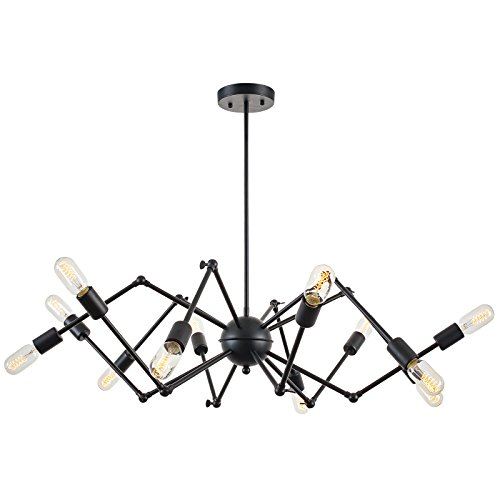 Light Society Arachnid 12-Light Chandelier Pendant, Matte Black, Mid Century Modern Industrial Starburst-Style Lighting Fixture LS-C111-BLK