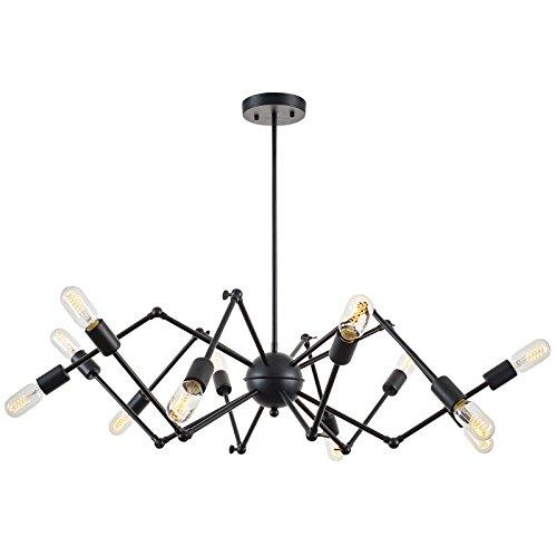 Light Society Arachnid 12-Light Chandelier Black Pendant Light, Mid Century Modern Industrial Starburst Style Lighting Fixture LS-C111-BLK