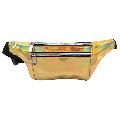 Mum's memory Holographic Fanny Pack for Women - Metallic Sport Waist Pack for Men for Running, Hiking, Traveling, Camping, Partying, Jogging (Gold)