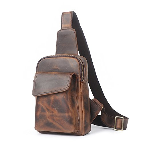 Bag Shoulder Dark Sunbobo Leather Color Casual Chest Coffee Bag Messenger Men's color coffee Color Retro Dark Bag Zipper vqUvzn4x