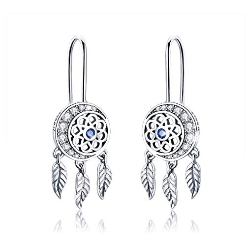 FOREVER QUEEN Dream Catcher Earrings 925 Sterling Silver Long Tassel Feather Drop Pendant Earring with CZ Jewelry BJ09122