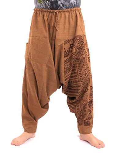 jing shop Aladdin Harem Drawcord Baggy Pants Traditional Print Cotton Mix Brown,Light Brown,One -