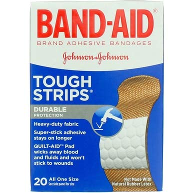 Band-Aid Tough Strips Adhesive Bandages All One Size - 20 ct, Pack of 4