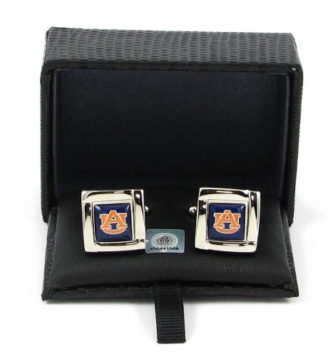Auburn Tigers Square - aminco NCAA Auburn Tigers Team Logo Square Cufflinks with Square Shape Logo Design Gift Box Set