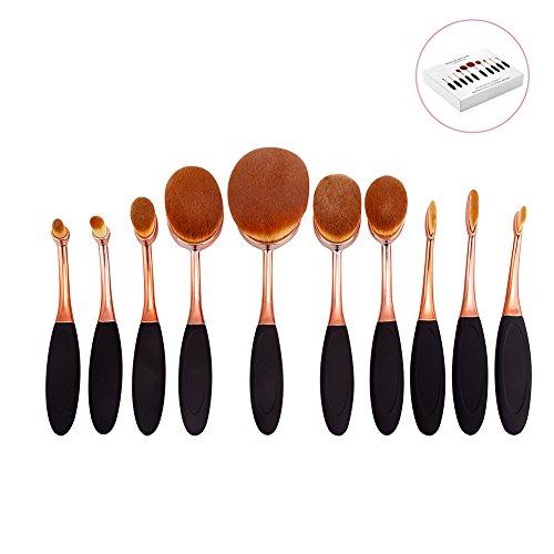 DSCbeauty 10 Pcs Oval Brushes Set Packed with Box Foundation Contour Blush Concealer Eyebrow Eyeliner Blending Cosmetics Brushes Toothbrush Curve Makeup Tools Set (Black Rose Golden)