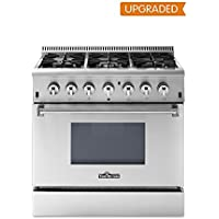 Thor Kitchen 36' Dual Fuel Range, Freestanding, 5.2 cu. ft. Oven, Stainless Steel (HRD3606U) (grey)