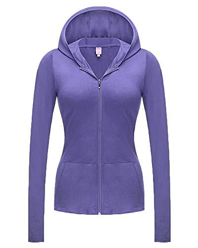Vestes Sweats Manches Violet Casual Capuche shirt À Clair Longues Blouson Femmes Zippé Sweat OHYnABY