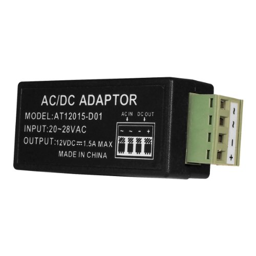 R-Tech UL Listed 24 VAC to 12 VDC, 1.5 Amp Supply Current Power Adapter for Surveillance Security Camera CCTV, Best Gadgets