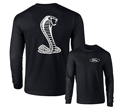 FORD MUSTANG AMERICAN SHELBY WHITE SNAKE LONG SLEEVE T-SHIRT F&B, Black, XL