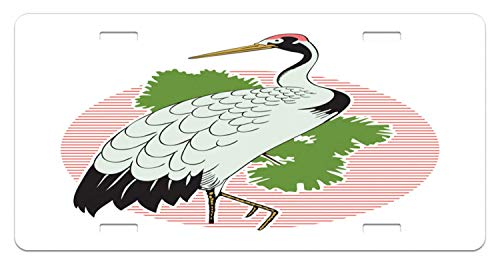 FloralFlames Personalized Novelty Front License Plate Crane Japanese Grus Bird on a Background Custom Decorative Car Tag 4 Holes (12 X 6 inches)]()