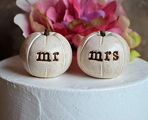 Pumpkin wedding cake topper.2 rustic white