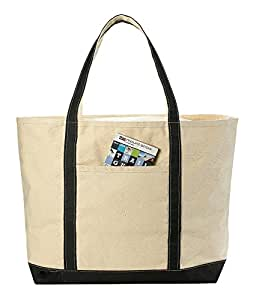 Amazon.com: Canvas Tote Beach Bag, Black - 22