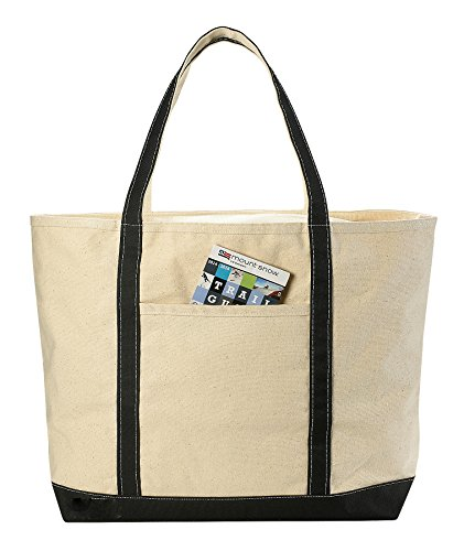 Canvas Tote Beach Bag - These Large Bags Are Strong Enough to Carry Beach Gear and Wet Towels. Front Pocket, Zippered Top Closure and Shoulder Straps for Easy Carrying. (Black | 22 x 16 Inches)