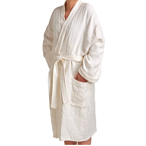Water Works Waterworks Small Unisex Linen Robe in White by Water Works