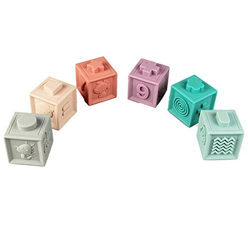 ErYao Soft Rubber Building Blocks for Toddlers Educational Construction Blocks Baby Toys with Numbers Shapes Animals (A)