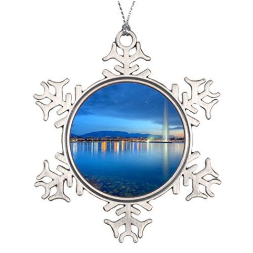 Ideas For Decorating Christmas Trees Geneva panorama with famous fountain Switzerland Outdoor Tree Snowflake Ornaments Urban (Outdoor Christmas Decorating Ideas)