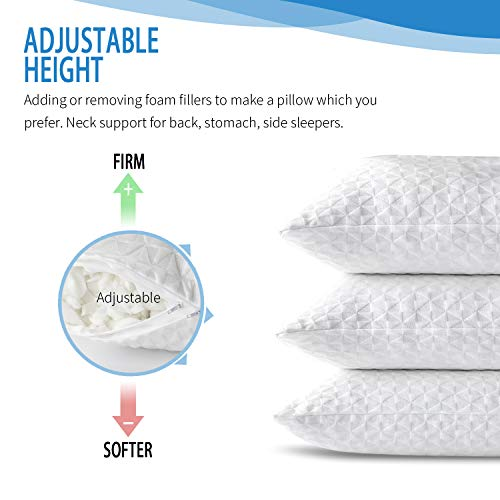 SORMAG Adjustable Shredded Memory Foam Pillows for Sleeping (1 Pack), Bamboo Cooling Bed Pillows Neck Support for Back, Stomach, Side Sleepers-Queen Size