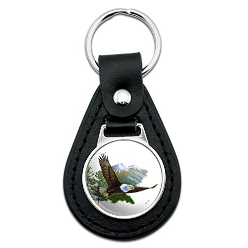 Keychain Eagle Bald (Bald Eagle Flying Over the Mountains Scenic Black Leather Keychain)
