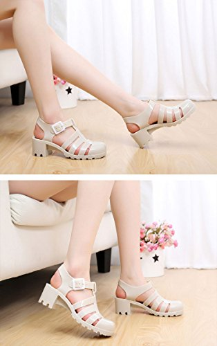 Strappy Nude Women Gaorui Pink Strap Ankle Sandals Gladiator Caged Jelly chunky Wedge Flat qA1wxwp6U
