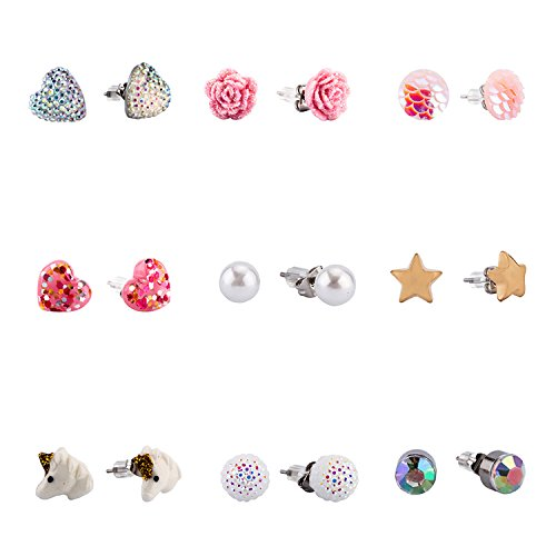 SkyWiseWin Hypoallergenic Earrings Set for Kids, 9 Pairs Mixed Color Cute Stud Earrings