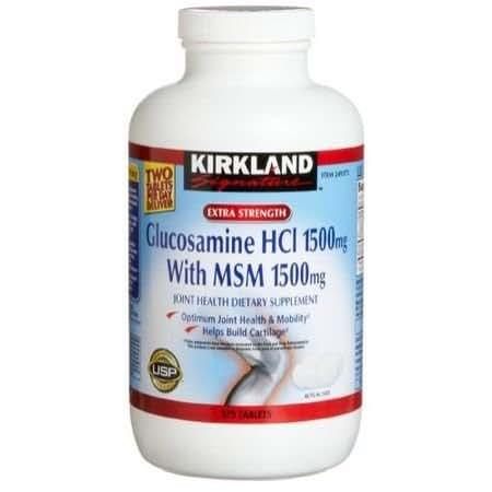 Kirkland Signature Extra Strength Glucosamine HCI 1500mg With MSM 1500 mg 375 Tablets