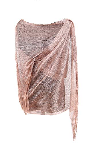 Shawls and Wraps for Evening Dresses, Wedding Dressy Sparkly Scarfs for Women(rose gold)