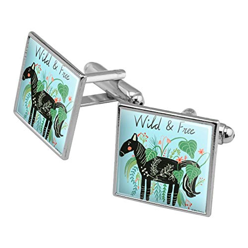GRAPHICS & MORE Wild and Free Black Horse Square Cufflink Set Silver Color
