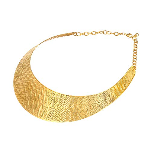 U7 Women 18K Gold Plated Wave Stripe Grain Statement Collar Bib Choker Necklace, Party - Bib Choker Necklace