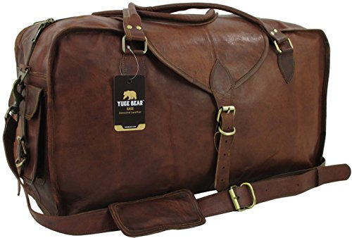 Yuge Bear 24'' C50 Vintage Carry On Travel Duffel Shoulder Suitcase by Genuine Leather Bag Shop