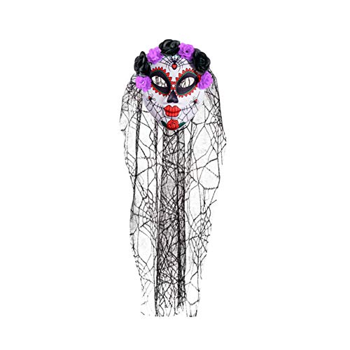 MaiYi Halloween Corpse Bride Masks/Scary Clown Skull face Masks/Flower Gauze Masks Masquerade Props