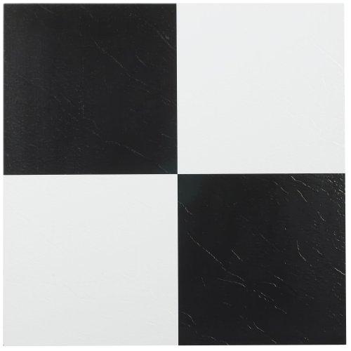 Achim Home Furnishings FTVSO10320 Nexus 12 Inch Vinyl Tile, Solid Black And  White, Pack Of 20