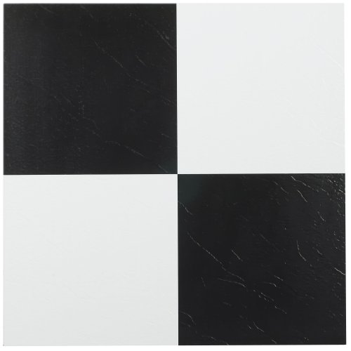 Peel And Stick Ceramic Tiles (Achim Home Furnishings FTVSO10320 Nexus 12-Inch Vinyl Tile, Solid Black and White, Pack of 20)