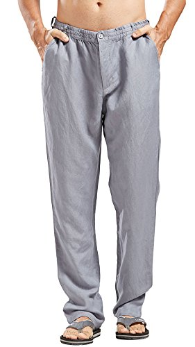 Chartou Man's Summer Casual Stretched Waist Loose Fit Linen Beach Pants (X-Large, Grey) by Chartou