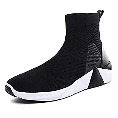 AUCDK Men Breathable Sneakers Mesh Upper Shock Absorbing Casual Trainers with Non Slip Sole for Running and Training 6US Black