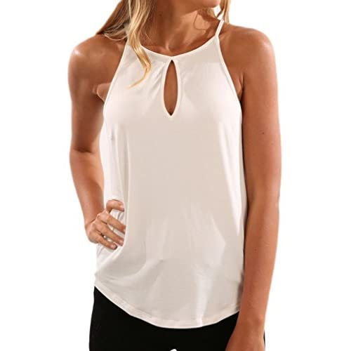 d9991d17da42e5 free shipping Sherosa Women s Summer Sleeveless Tank Tops Casual Front  Hollow Out Spaghetti Straps Camisole Shirt