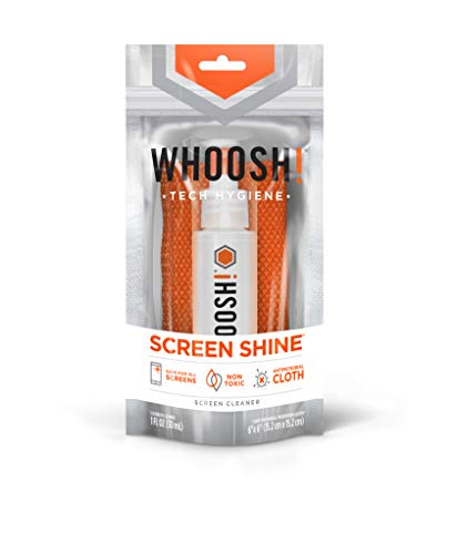 WHOOSH! Screen Cleaner Kit - Safe for All Screens - Smartphones, iPads, Eyeglasses, Kindle, LED, LCD & TVs - Includes 1 Oz Bottle + 1 Premium Microfiber Cloth