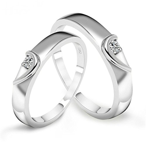Beydodo White Gold Plate Couple Wedding Rings For His Half Heart White AAA Cubic Zirconia Size 9.5