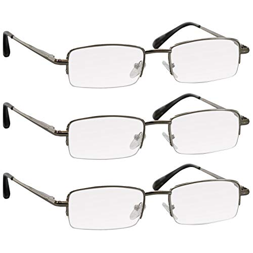 Reading Glasses 2.5 Silver 3 Pack for Men & Women Spring Arms & Dura-Tight Screws Always Have a Stylish Look When You Need It ()