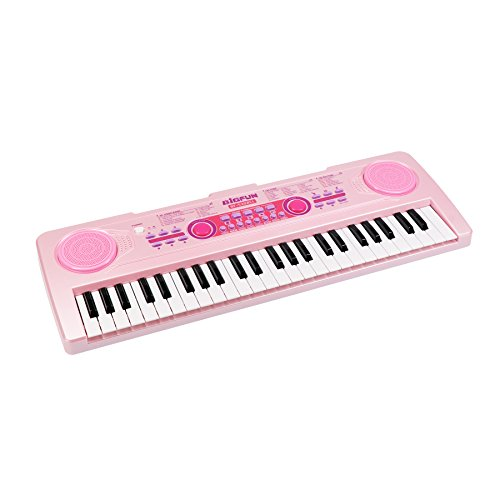 aPerfectLife Chargable Piano Keyboard for Kids, 49 Keys Multi-Function Electronic Kids Piano Keyboard Educational Toy Organ for Beginners and Kids with Charging Function (Pink)