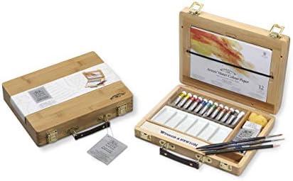 Winsor & Newton - Selección de 12 colores de agua, caja de bambú: Amazon.es: Hogar