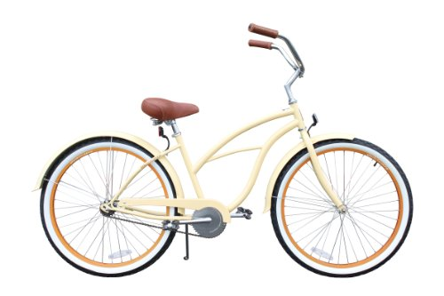 sixthreezero Women's Single Speed Beach Cruiser Bicycle, Scholar Cream w/Brown Seat/Grips, 26