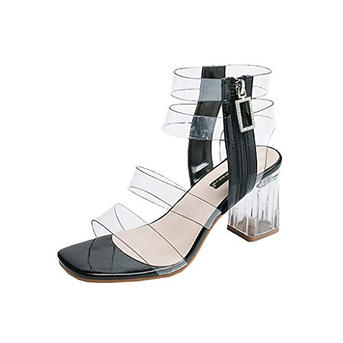(Londony Women's Clear Strappy Block Chunky High Heel Open Peep Toe Sandal Mid Heel Sandals Bridal Party Shoes Black)