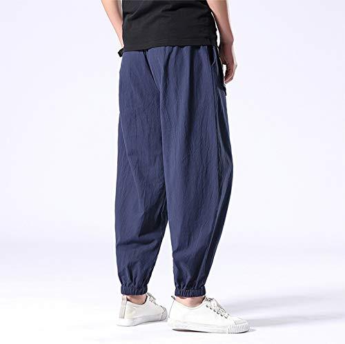 MISSHOUSE Mens Linen Elastic Waist Harem Baggy Trousers Casual Beach Pants with Drawstring