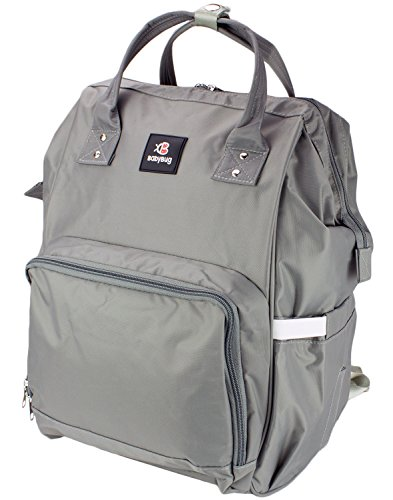 Baby Backpack Diaper Bag – Large Durable and Multi-Functional by BabyBugCompany (Gray)