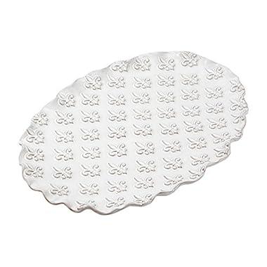 Mud Pie Fleur De Lis Platter, White