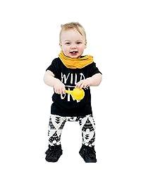TONSEE 2 Pcs Baby Boys Letter Print T-Shirt + Geometric Pattern Pants