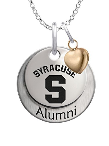 Syracuse University Orange Sterling Silver Stacked Alumni Charm Necklace with Heart Accent by College Jewelry