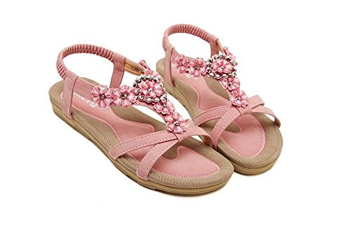 [party dress summer cool Women Rhinestone Sandals Flower Beads T-Strap Flip Flop Flats Slip On Thong Refreshing Shoes (Pink Floral/Rhinestone-1, 6 B(M) US/37EU)] (Dames At Sea Costumes)