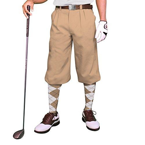 "Khaki Golf Knickers: Mens 'Par 3' - Microfiber - 48"""
