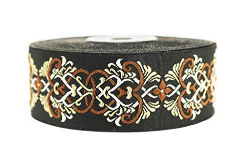 35 mm Medieval Motive Brown Jacquard Ribbons (1.37 inches) - Jacquard Ribbon - Jacquard Trim - Craft Supplies (10 Meters / 10.93 Yards) ()